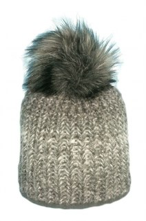 Beanie with Pom Pom fur PART 144B