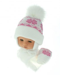 Baby hat with scarf and gloves (CZ + S + R 012D)