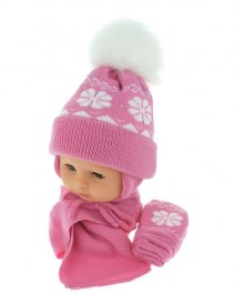 Baby hat with scarf and gloves (CZ + S + R 012B)