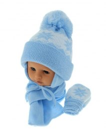 Baby hat with scarf and gloves (CZ + S + R 014D)