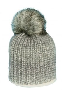 Beanie with Pom Pom fur PART 144C